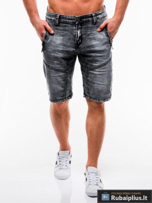 Vyriski juodi džinsiniai šortai vyrams internetu pigiau W129J priekis