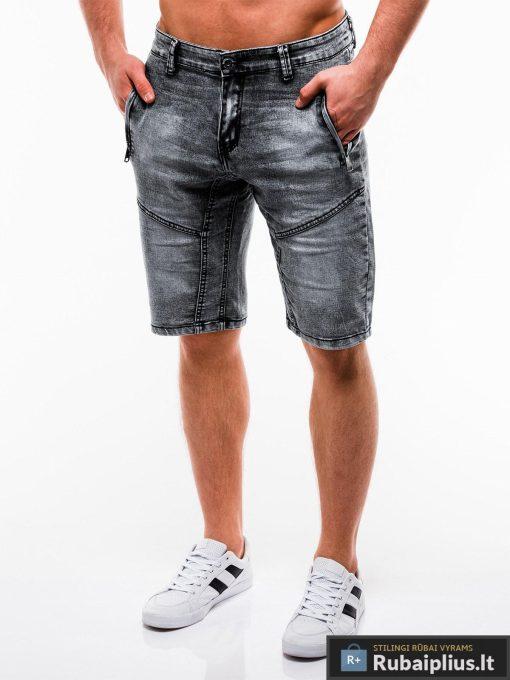 Vyriski juodi džinsiniai šortai vyrams internetu pigiau W129J kairė