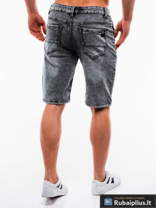 Vyriski juodi džinsiniai šortai vyrams internetu pigiau W129J nugara