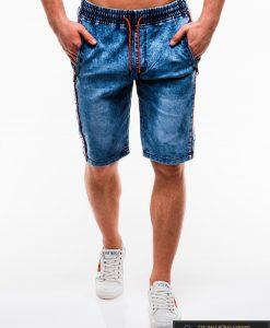Vyriski mėlyni džinsiniai šortai vyrams su užrašais internetu pigiau W135JEANS priekis