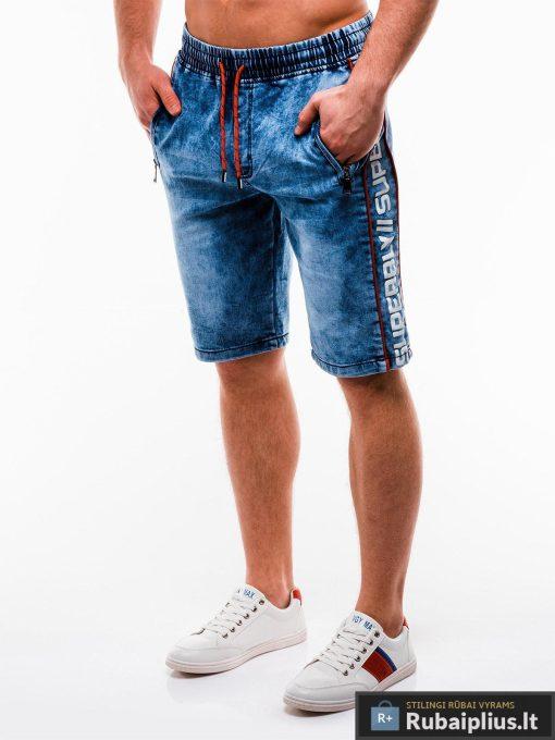 Vyriski mėlyni džinsiniai šortai vyrams su užrašais internetu pigiau W135JEANS kairė