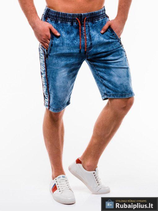 Vyriski mėlyni džinsiniai šortai vyrams su užrašais internetu pigiau W135JEANS dešinė