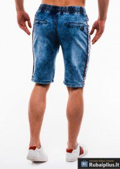 Vyriski mėlyni džinsiniai šortai vyrams su užrašais internetu pigiau W135JEANS nugara