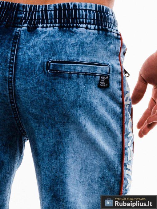 Vyriski mėlyni džinsiniai šortai vyrams su užrašais internetu pigiau W135JEANS kišenė