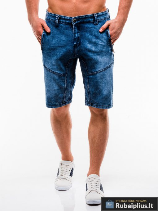 Vyriski mėlyni džinsiniai šortai vyrams internetu pigiau W129JEANS priekis