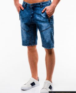 Vyriski mėlyni džinsiniai šortai vyrams internetu pigiau W129JEANS kairė