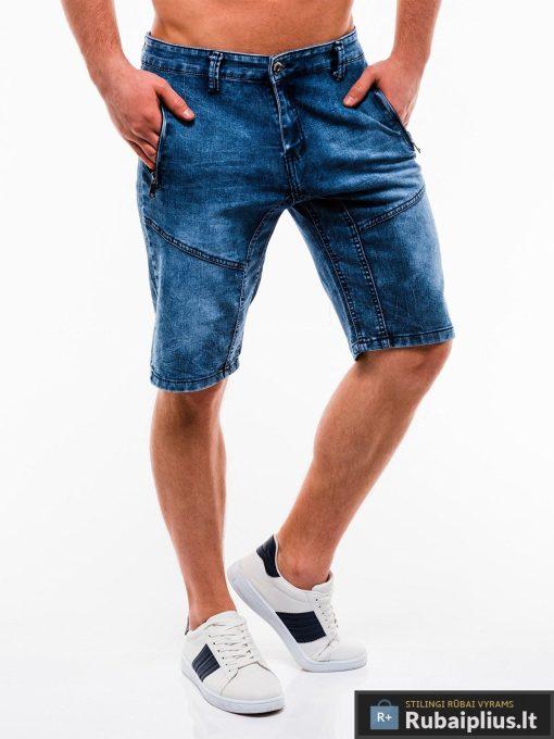 Vyriski mėlyni džinsiniai šortai vyrams internetu pigiau W129JEANS dešinė