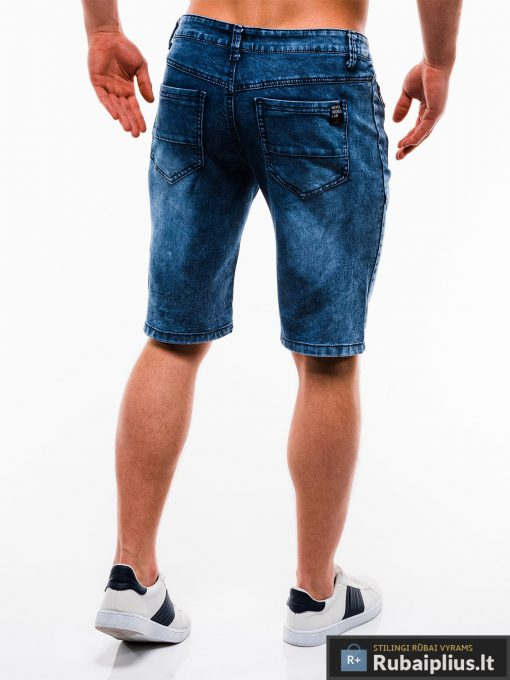 Vyriski mėlyni džinsiniai šortai vyrams internetu pigiau W129JEANS nugara