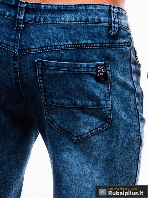 Vyriski mėlyni džinsiniai šortai vyrams internetu pigiau W129JEANS kišenė