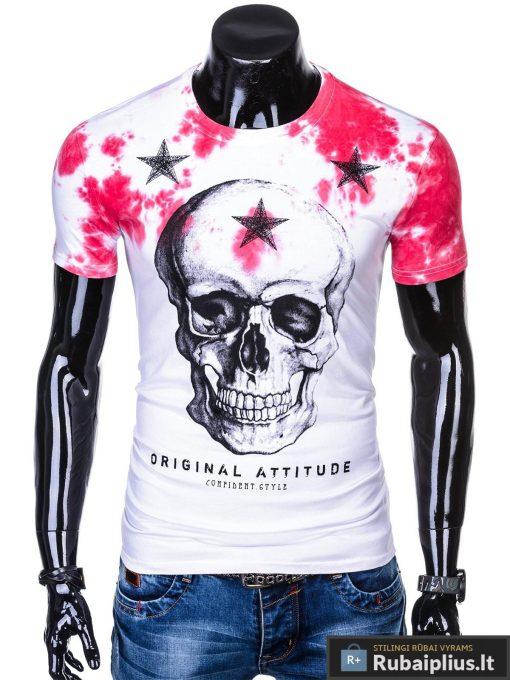 Balti vyriski marškinėliai vyrams su kaukole irraudona aplikacija internetu pigiau S1102R priekis