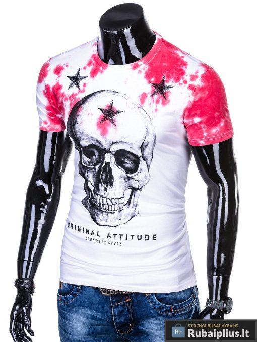 Balti vyriski marškinėliai vyrams su kaukole irraudona aplikacija internetu pigiau S1102R kairė