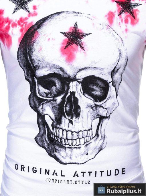Balti vyriski marškinėliai vyrams su kaukole irraudona aplikacija internetu pigiau S1102R nuotrauka