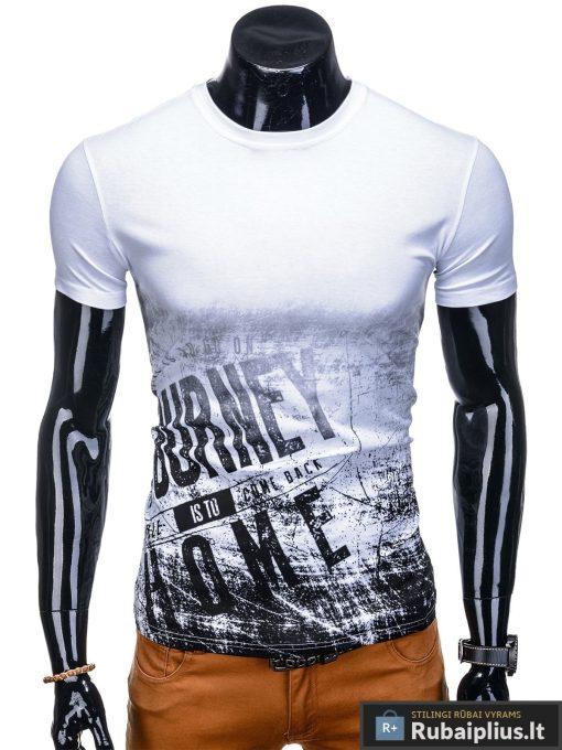 Vyriski balti marškinėliai vyrams su užrašu internetu pigiau S1134 13061 priekis