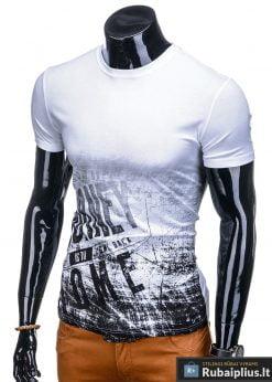 Vyriski balti marškinėliai vyrams su užrašu internetu pigiau S1134 13061 kairė