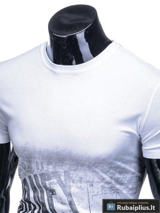 Vyriski balti marškinėliai vyrams su užrašu internetu pigiau S1134 13061 apykaklė