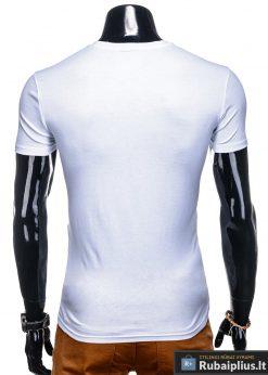 Vyriski balti marškinėliai vyrams su užrašu internetu pigiau S1134 13061 nugara