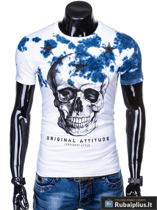 Vyriski balti marškinėliai vyrams su kaukole ir mėlynaaplikacija internetu pigiau S1102M priekis