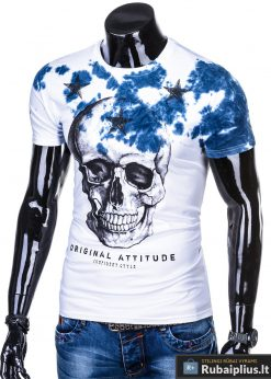 Vyriski balti marškinėliai vyrams su kaukole ir mėlynaaplikacija internetu pigiau S1102M kairė