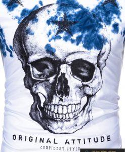 Vyriski balti marškinėliai vyrams su kaukole ir mėlynaaplikacija internetu pigiau S1102M nuotrauka