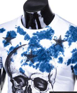 Vyriski balti marškinėliai vyrams su kaukole ir mėlynaaplikacija internetu pigiau S1102M apykaklė