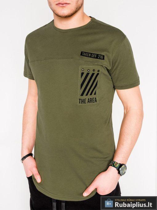 Vyriski chaki marškinėliai vyrams su užrašais internetu pigiau S969CH priekis