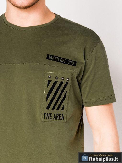 Vyriski chaki marškinėliai vyrams su užrašais internetu pigiau S969CH užrašas