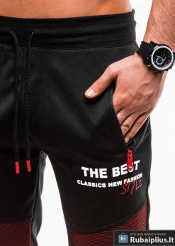Vyriski juodi šortai vyrams internetu pigiau W186JR kišenė