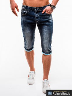 Vyriski mėlyni džinsiniai šortai vyrams internetu pigiau W122M priekis