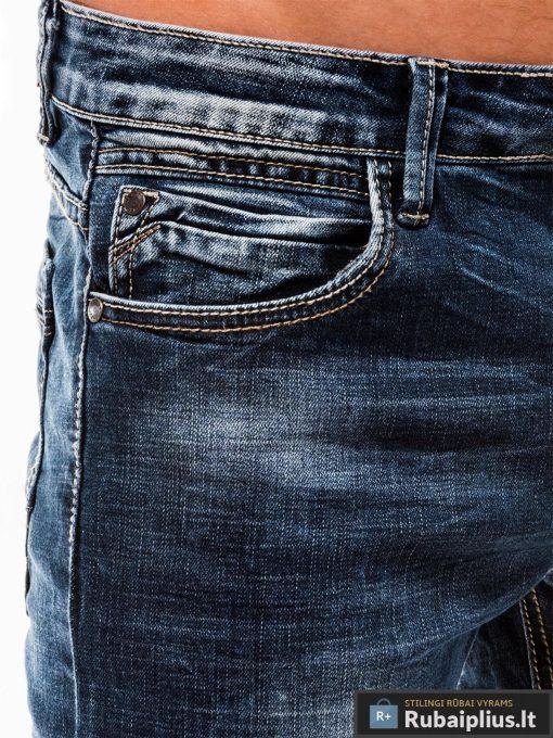 Vyriski mėlyni džinsiniai šortai vyrams internetu pigiau W122M kišenė