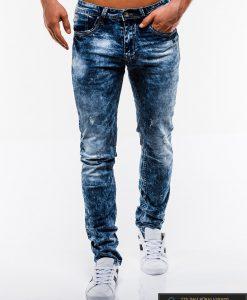 Madingi vyriski mėlyni plėšyti džinsai vyrams internetu pigiau P828 priekis