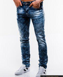 Madingi vyriski mėlyni plėšyti džinsai vyrams internetu pigiau P828 kairė