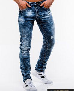 Madingi vyriski mėlyni plėšyti džinsai vyrams internetu pigiau P828 dešinė