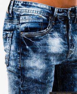 Madingi vyriski mėlyni plėšyti džinsai vyrams internetu pigiau P828 šonas