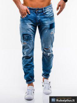 Vyriski mėlyni plėšyti džinsai vyrams internetu pigiau P827 priekis