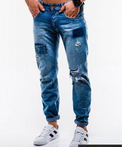 Vyriski mėlyni plėšyti džinsai vyrams internetu pigiau P827 kairė