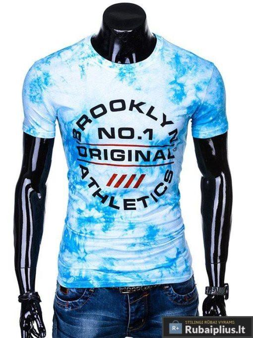 Vyriski mėlyni marškinėliai vyrams su užrašais inetrnetu pigiau S1104M priekis