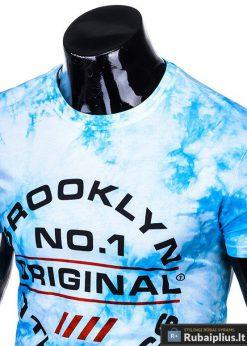 Vyriski mėlyni marškinėliai vyrams su užrašais inetrnetu pigiau S1104M apykaklė