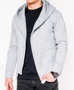 Pilkas vyriškas džemperis su gobtuvu internetu pigiau PRIMO 1013-1