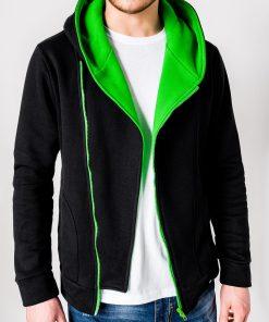 Juodas-žalias vyriškas džemperis su gobtuvu internetu pigiau PRIMO 1014-1