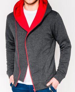Tamsiai pilkas-raudonas vyriškas džemperis su gobtuvu internetu pigiau PRIMO 1015-1