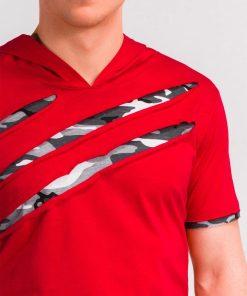Raudoni pigus vyriski marskineliai vyrams internetu su gobtuvu akcija S1019 10427-4