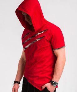Raudoni vyriški marškinėliai su kamufliažiniais įplėšimais ir gobtuvu S1019 10427-5