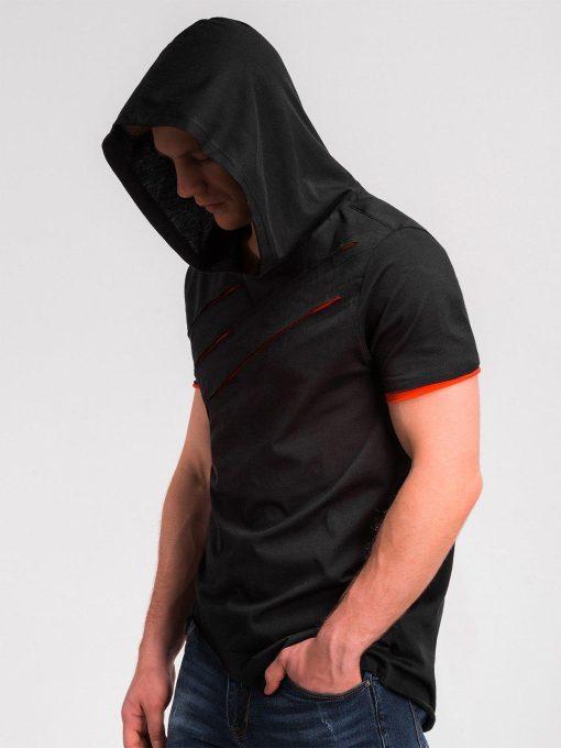 Juodi vyriški marškinėliai su raudonais įplėšimais ir gobtuvu S1019 10428-5