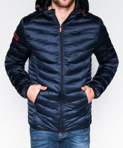 Tamsiai mėlyna rudens-pavasario vyriška striukė internetu pigiau Elen C368 10546-1