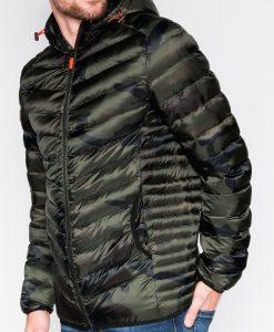 Žalia-kamufliažinė rudens-pavasario vyriška striukė internetu pigiau Elen C368 10549-1