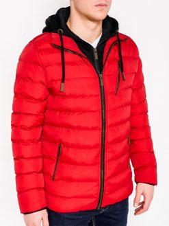 Raudona rudeninė-pavasarinė vyriška striukė internetu pigiau Uffo C384 10565-1
