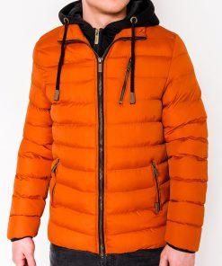 Oranžinė žieminė vyriška striukė internetu pigiau C384 10568-1