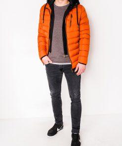 Oranžinė vyriška žieminė striukė internetu pigiau C384 10568-5