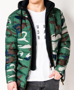 Žalia-kamufliažinė žieminė vyriška striukė internetu pigiau C384 10570-1
