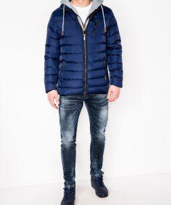 Tamsiai mėlyna žieminė vyriška striukė internetu pigiau C38411017-2